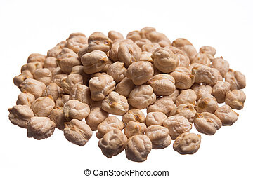 Chickpeas. Pile of grains, isolated white background.