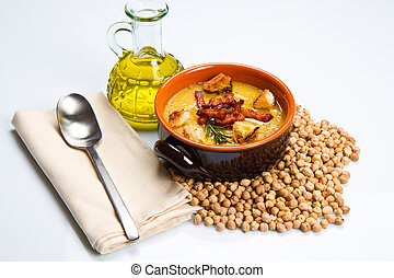chickpeas soup on bowl