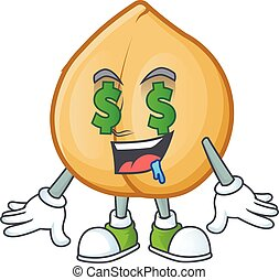 Chickpeas with Money eye cartoon character design