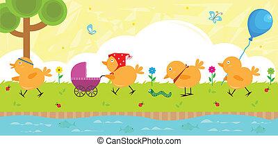Chicks on a Walk