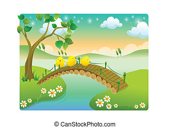 chicks with beautiful landscape in - chicks cartoon with...