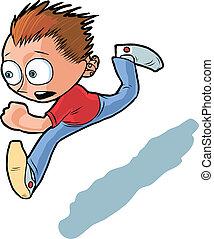 chico que corre, vector, caricatura
