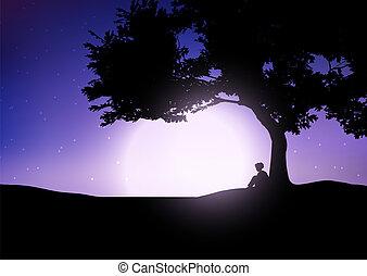chico que sienta, contra, un, árbol, contra, un, cielo de la noche