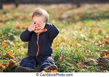 chico que sienta, en la hierba, y, cueros