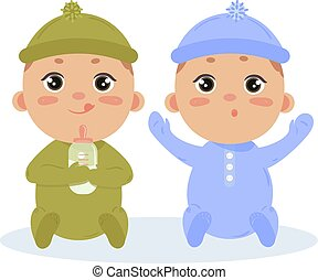chico que sienta, juntos, recién nacido, gemelos, bebé