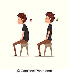 chico que sienta, sentado, posiciones, ilustración, vector, peor, plano de fondo, silla, blanco, correcto, postura