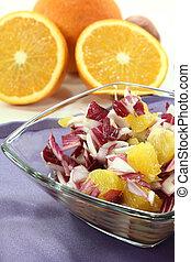 Chicory salad with fresh orange slices