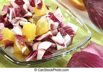 Chicory salad with orange slices