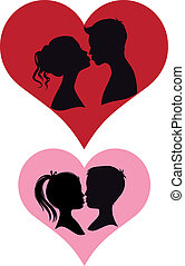 chidren and adult couples kissing, vector