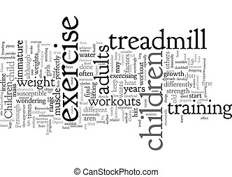 Chidren And Exercise text background wordcloud concept