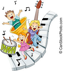 Musical - Chidren with Musical Instruments with Clipping...