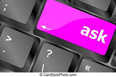 chiedere, bottone, chiave calcolatore, tastiera