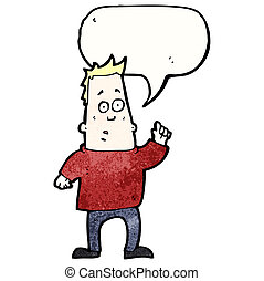 chiedere, domanda, cartone animato, uomo