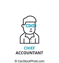 Chief accountant concept , outline icon, linear sign, thin line pictogram, logo, flat vector, illustration