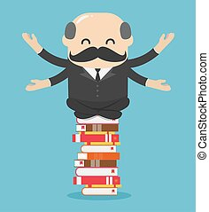 Chief businessman meditate relaxed on a pile of books Ideas, learning, knowledge concept