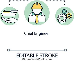 Chief engineer concept icon. Sailor career on ship. Offshore work with machinery. Watercraft executive worker idea thin line illustration. Vector isolated outline RGB color drawing. Editable stroke