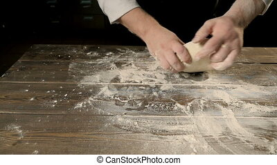 Chief Hands Kneading a Dough For Bakering, Slow Motion, HD