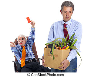 the chief gives the orange card and whizzes to the dismissed worker, focus on boss