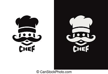 Chief monochrome logo, two versions. Vector illustration
