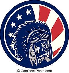 chief-native-american-circ_GR_USA-FLAG-ICON - Icon retro...