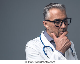 Chief physician thinking with hand on chin: medical advice,...