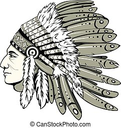 Chief with indian headdress - Vector of man with traditional...
