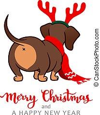 chien, écharpe, fesses, salutation, antlers., card., mignon...