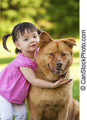 chien, étreindre, enfant