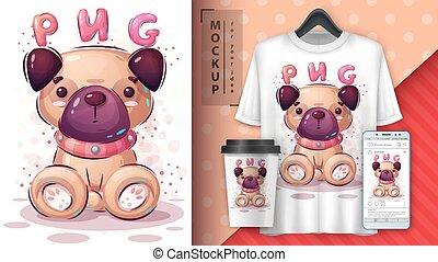 chien, affiche, mignon, merchandising.