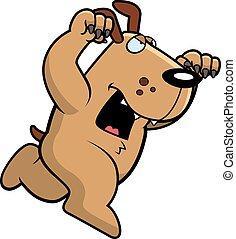 chien, attaquer, dessin animé