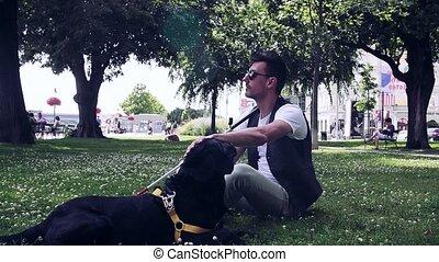 chien blanc, aveugle, parc, canne, homme, guide, jeune,...