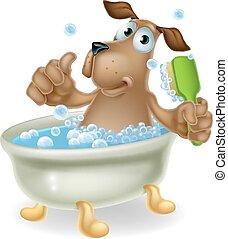 chien, bulle, dessin animé, bain