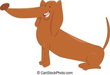 chien, caractère, dessin animé, teckel