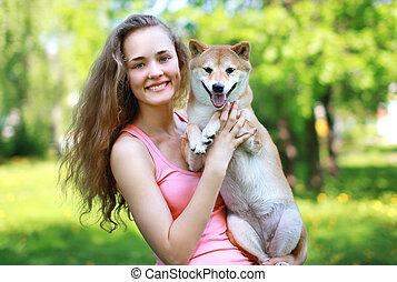 chien, charmer, tenue, propriétaire, girl, aimer, heureux