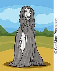 chien chasse afghan, chien, illustration, dessin animé