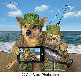 chien, chat pêche, 2