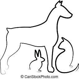 chien, , chat, vecteur, lapin, logo