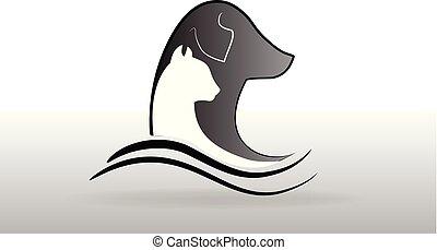 chien, chat, vecteur, logo, carte identification