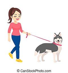 chien, chouchou, marche femme, husky