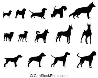 chien, collection, -, vecteur, silhouette