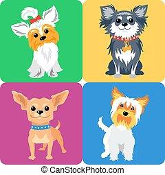 chien, conception, icône, ensemble, plat
