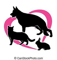 chien, contour, lapin, chat