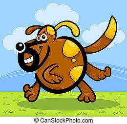 chien, courant, chiot, ou, dessin animé