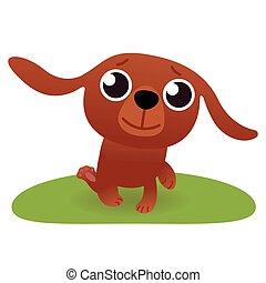 chien, dessin animé, côté, illustration, vue, vecteur, courant