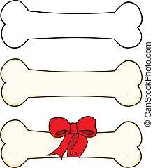 chien, dessin animé, ensemble, collection, os, 1