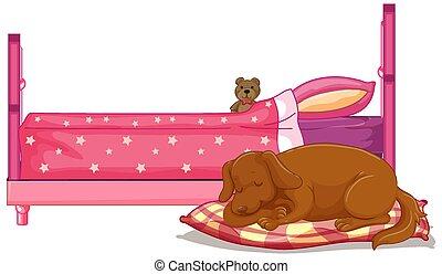 chien endormi, scène, lit, brun