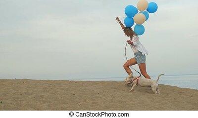 chien, ensemble, ballons, girl, courant