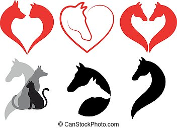 chien, ensemble, coeur, chat, cheval, vecteur
