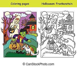 chien, exemple, coloré, coloration, halloween, caractères