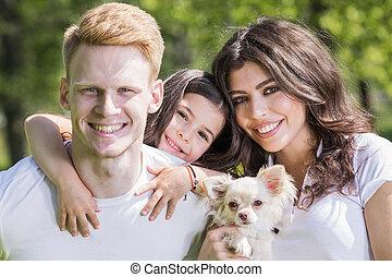 chien, famille, heureux